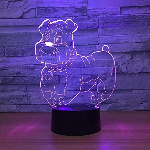 Mooie hond 3D helder nachtlampje meerkleurige RGBW-lampjes decoratief verjaardagscadeau voor vriend kinderen, nieuw cadeau