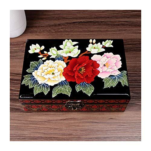 Soporte para collar de mesa Retro Vintage Caja de almacenamiento de joyería de madera con espejo Caja de joyería tradicional china pintada a mano Caja del tesoro Organizador de joyería Baratija C