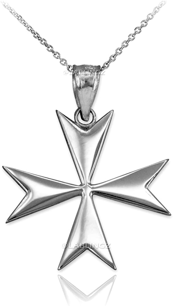 10K White Gold Polished New mail order Necklace San Francisco Mall Cross Pendant Maltese