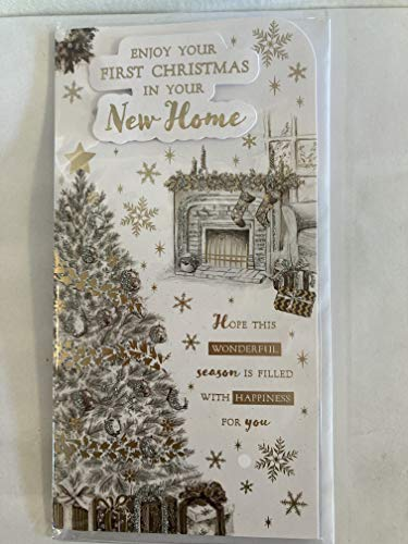 Enjoy Your First 1st Christmas in Your New Home Christmas Card White/Grey/Gold Christmas Tree/Fireplace/Gold Words 3D/Glitter/Foil Detail (PRELUDE46208)
