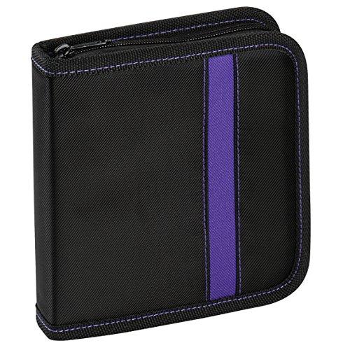 Vivanco CD/DVD-Tasche Nylon, Blue-ray Case, Wallet, Ordner für 24 CDs schwarz-lila