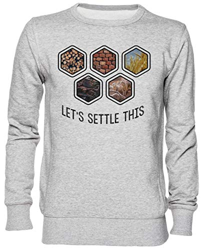 Lets Settle This Gris Jersey Sudadera con Capucha Unisexo Hombre Mujer Tamaño M Grey Unisex Hoodie Size M