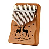 Kalimba Thumb Piano 17 Keys Musical Instruments, Portable Mahogany Wood Mbira Finger Piano Gifts with Tune Hammer and Study Instruction for Kids and Adults Beginners