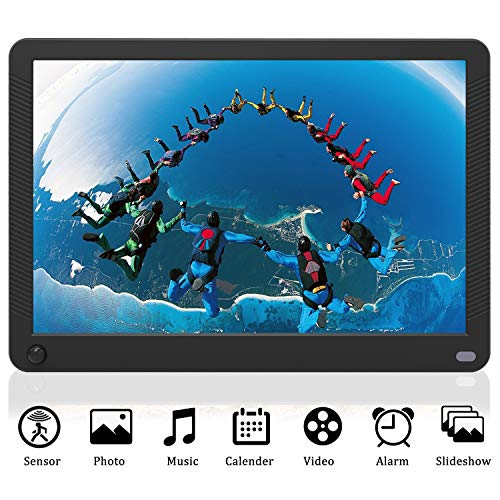 EastPoint Digital Photo Frame 10 Inch, 1920x1080 Full HD 16:10 IPS Display with Motion Sensor Photo/Music/Video Player Calendar Alarm Auto On/Off Timer with Remote Control, Support USB and SD Card