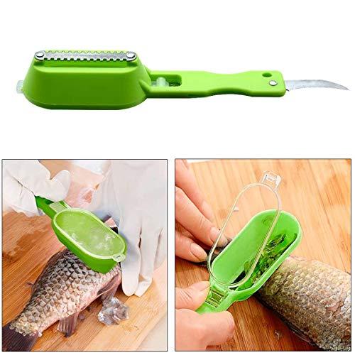 Vockvic Fisch Werkzeuge 2 Stück, Fisch Reiniger Schnelle Fischschuppen Skin Remover Scaler Kunststoff Edelstahl Reinigung Fischschuppen Werkzeug Schaber Reiniger Küchenwerkzeug