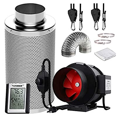 Shueriu Grow Tent Ventilation Inline Fan - 4/6/8 Inches Inline Filter with Fan Speed Controller Grow Tent Ventilation Ducting Carbon Filter for Grow Tent Ventilation, Kits, Black