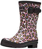 Joules Women's Molly Welly Rain Boot, Pink Leopard, 9