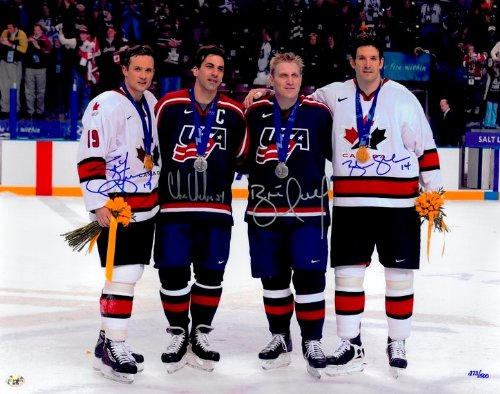 Four Olympians Autographed 16x20 Photo - Steve Yzerman, Brendan Shanahan, Brett Hull, and Chris Chelios