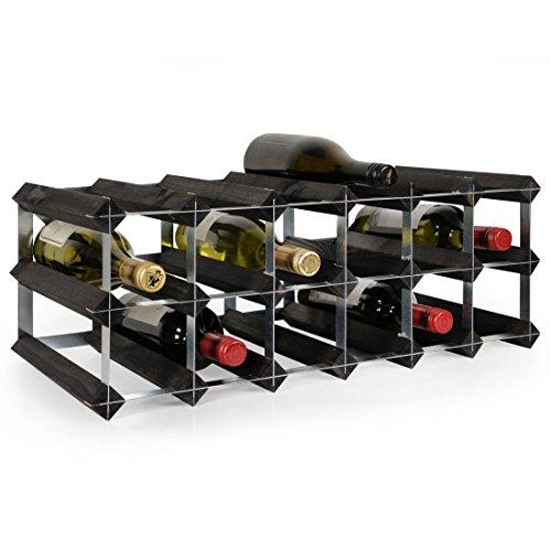 Weinregal/Flaschenregal System TREND–Weinregal aus Kiefer gebeizt, komplett montiert, stapelbar und ausziehbar, Farbe: schwarz