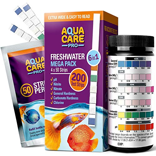 Freshwater Aquarium Test Strips 6 in 1 - Fish Tank Test Kit for Testing pH Nitrite Nitrate Chlorine General & Carbonate Hardness (GH & KH) - Easy to Read Wide Strips & Full Water Testing Guide, 200 Ct
