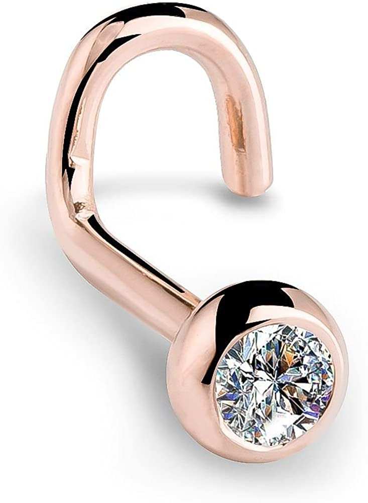 FreshTrends 14K Max 77% OFF Rose Gold Diamond Nose Ring Twist Sales of SALE items from new works with Set Bezel