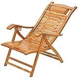 HONGTA Campingstuhl Bambus Stuhl kann in sechs Positionen eingestellt Werden,Brown-A