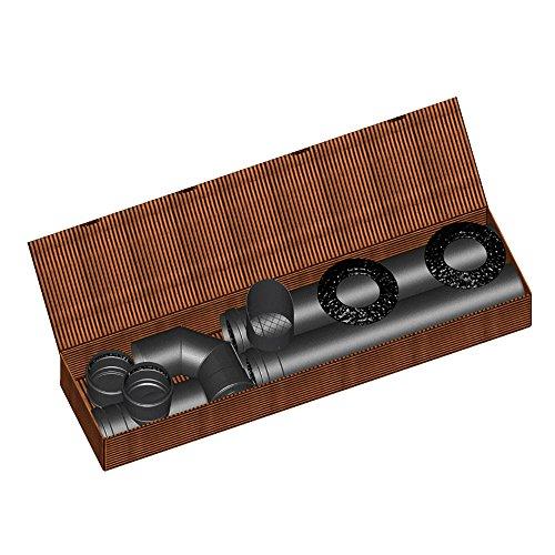 Mistermoby Kit complet de tuyaux et raccords en acier pour poêle à granulés Ø 80mm Résiste à 1000°C
