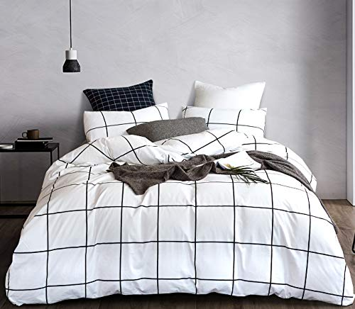 karever White Plaid Duvet Cover Set Grid Checkered Bedding Set White and Black Grid 100% Cotton Queen 3 PCS 1 Comforter Cover with 2 Pillow Shams