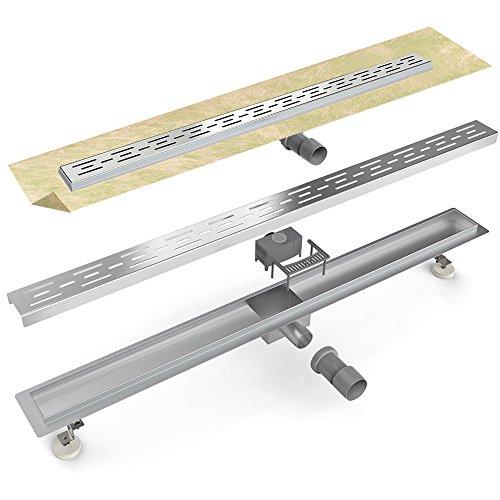 Duschrinne DR21-800 mm aus Edelstahl mit Edelstahleinsatz, Geruchsverschluss und höhenverstellbaren Füßen | Bodenablauf