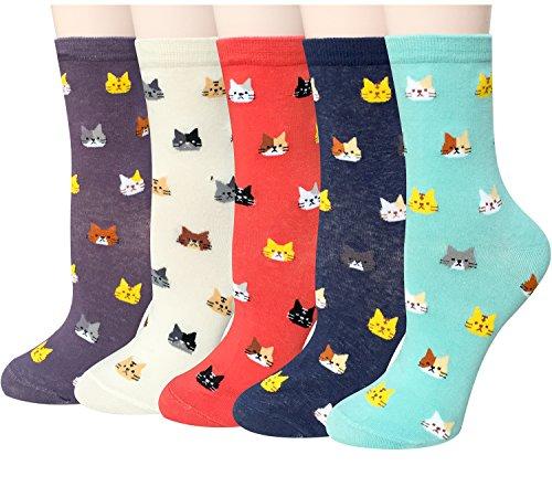 5/4 Pares de Calcetines Mujer, Divertidos Calcetines de Algodón de Invierno, Calcetines de Perro Gato Animales para Niñas Chicas