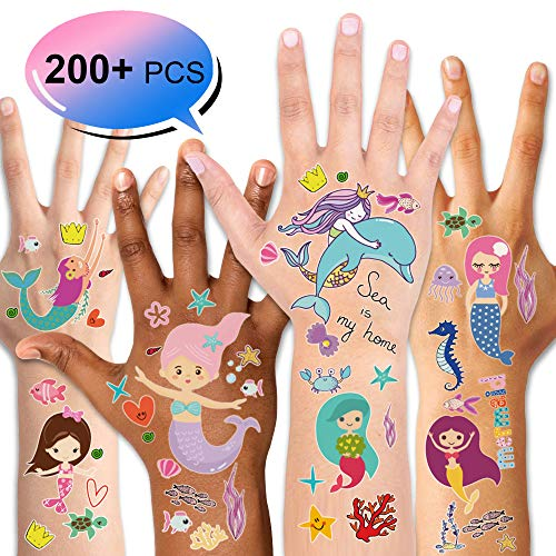 Mermaid Temporary Tattoos (200PCS+), Konsait Under the Sea Party Mermaid Tattoos Body Stickers for Girls Birthday Party Favor Supplies Goodie Bag Filler Great Kids Party Accessories Gift