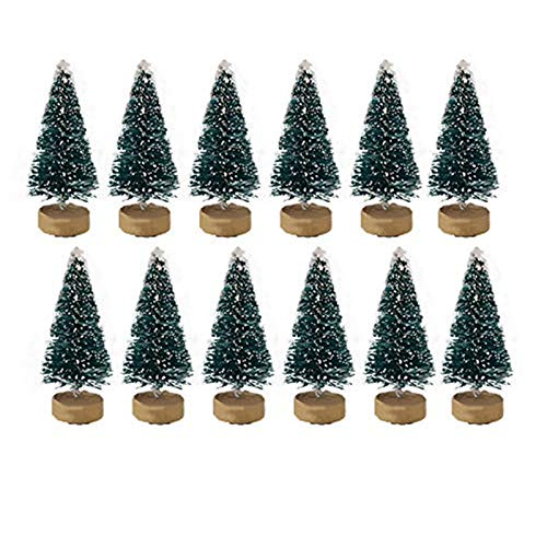 12/24pcs Mini Pine Trees Frosted Sisal Trees with Wood Base Bottle Brush Trees Plastic Winter Snow Ornaments Tabletop Trees for Crafting, Displaying and Decoration