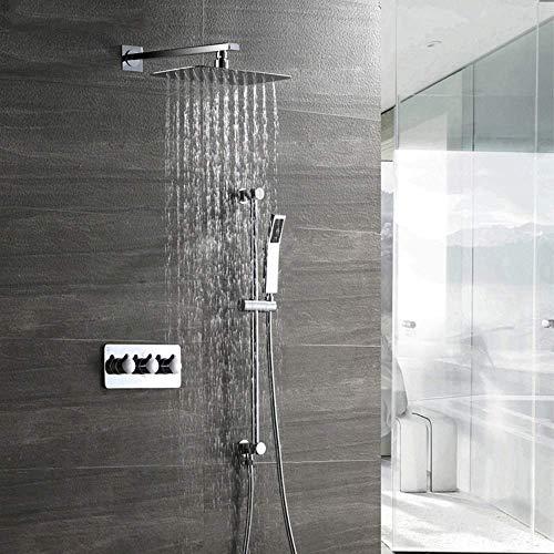WFAANW Set de ducha con el levantamiento de barra de la ducha Conjunto de cobre grifo de la ducha 30 * 20 cm de pulverización superior de 2 tipos de ducha Sistema de plata de suministro de agua del ho