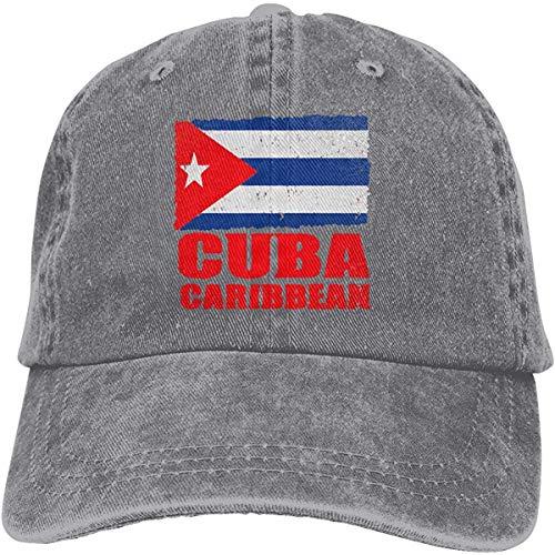 Jieaiuoo Men's/Women's Flag of Cuban Cuba Flag Yarn-Dyed Denim Baseball Cap Adjustable Dad Hat