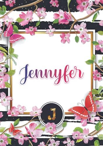Jennyfer: Carnet de notes A5   Prénom personnalisé Jennyfer   Monogramme : J   Cadeau d'anniversaire pour fille, femme, maman, copine, sœur ...   120 pages lignée, Petit Format A5 (14.8 x 21 cm)