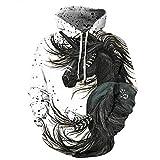 Fansu Homme Sweats à Capuche Imprimé 3D Hoodie, Mode Créatif Animalier Unisexe Manches Longues Sport Casual Tops Pullover Automne Hiver Sweat-Shirts Vêtements (S,Cheval Noir)