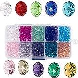 Cuentas de vidrio de cristal de 6 mm, cuentas de vidrio facetado, cuentas Rondelle 10 colores surtidos con caja para hacer artesanías de pulsera de collar de joyería DIY (500 piezas)