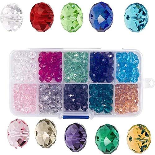 6mm perline di vetro cristallo, Perline di vetro sfaccettato, perline Rondelle 10 colori assortiti con scatola per gioielli fai-da-te collana braccialetto gioielli (500 pezzi)