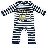 HARIZ Baby Strampler Streifen Ich Bin Schon Eins LKW 1 Geburtstag Geschenkidee Plus Geschenkkarte Navy Blau/Washed Weiß 12-18 Monate