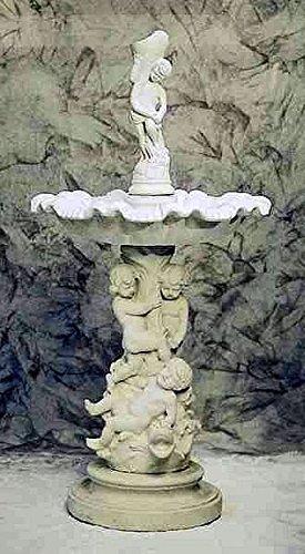 pompidu-living Brunnen, Gartenbrunnen, Zierbrunnen, Fountain, mit Skulpturen-Sockel Farbe Terracotta