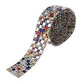 FLAMEER 1 Yard Strassband Borte zum aufbügeln, 2cm Strasssteine selbstklebend für Kleidung, Schuhe, Hüte, Gürtel, Schärpe - buntes Quadrat
