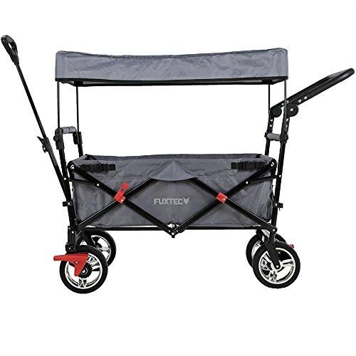 Fuxtec Faltbarer Bollerwagen FX-CT700 grau klappbar mit Dach, Vorder- und Hinterrad-Bremse, Vollgummi-Reifen, Schubbügel, für Kinder geeignet - Das Original !