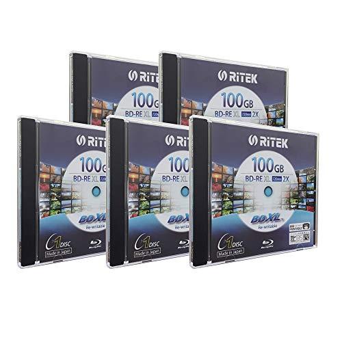 5 Pack Ritek BD-RE XL Rewritable BDXL 100GB Triple Layers 2X White Inkjet Hub Printable Blank Disc