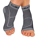 TechWare Pro Ankle Brace Compression Sleeve - Relieves Achilles Tendonitis, Joint Pain. Plantar Fasciitis Foot Sock with Arch Support Reduces Swelling & Heel Spur Pain. (Gray, S / M)