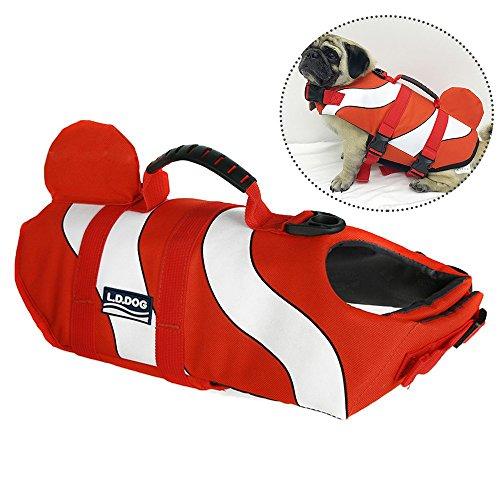 Petilleur Hunde Schwimmweste Schweben Rettungsweste Hunde Einstellbar (M, Orange)