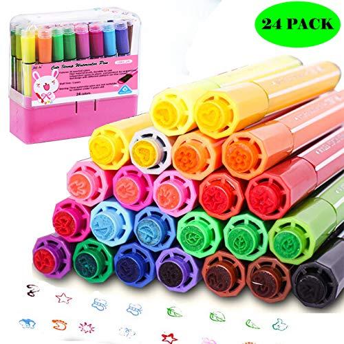 Wasserfarbenstift, von Magicdo®, 24Aquarellstifte mit Stempel, ungiftige & abwaschbare Marker für Kinder und Erwachsene zum Malen und Zeichnen rose