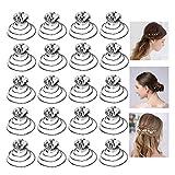 Xinlie Horquillas en Espiral Peinetas Para el Pelo Boda Horquillas de Pelo Perlas Pelo Cristal Horquillas Novia Clips de Pelo Horquillas en Espiral Para el Pelo Pasadores de Pelo en Espiral(20 PCS)