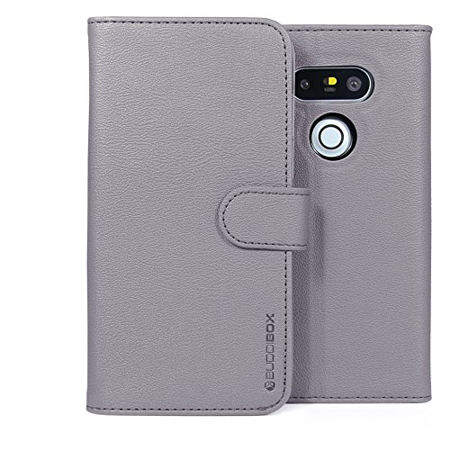 LG G5 Case, BUDDIBOX [Wallet Case] Premium PU Leather Wallet Case with [Kickstand] Card Holder and ID Slot for LG G5, (Grey)