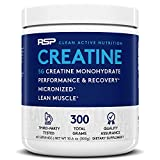RSP Creatine Monohydrate – Pure Micronized Creatine Powder Supplement for Increased Strength, Muscle Recovery, and Performance for Men & Women, Unflavored, 10.6 Ounce