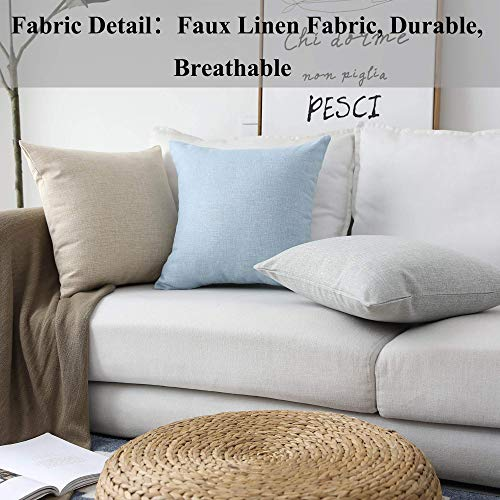 Home Brilliant Linen Throw Pillow Cover Burlap Square Cushion Cover Pillow Sham for Couch Living Room, Light Linen, 18x18 Inches(45cm)