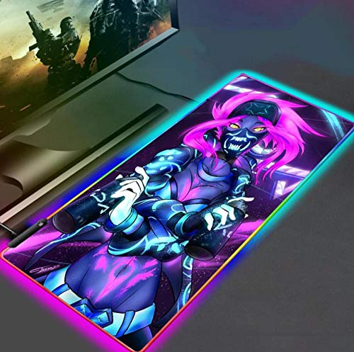 Mouse Pads Game Girl Dva RGB Gaming Mouse Pad Extra Large XL Size LED Gaming Mouse Mat Professional Desk Mat with 14 Lighting Modes 15.7x35.4in