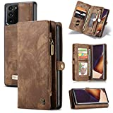 Galaxy Note 20 Wallet Case,Zttopo 2 in 1 Premium Leather Zipper Detachable Magnetic 11 Card Slots Money Pocket Clutch for Samsung Note 20 Folding Flip Case Wallet (Brown, Note 20 (6.7''))