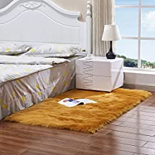 Solid Color Thick Household Carpet, Soft Coffee Table Mat, Machine Washable Non-Slip Bedroom Bedside Blanket (6Cm),Brown,1...
