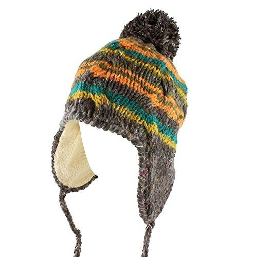 Morehats Multi Stripe Knit Pom Pom Handmade Trapper Beanie Winter Ski Warm Hat - Charcoal