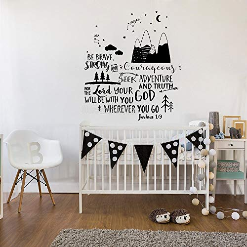 WGWNYN Newly designed Joshua 1: 9 Mountain Adventure Wall Stickers Famous Brave Wall Stickers Boy Nursery Decoration Star Wallpaper 42 * 48cm