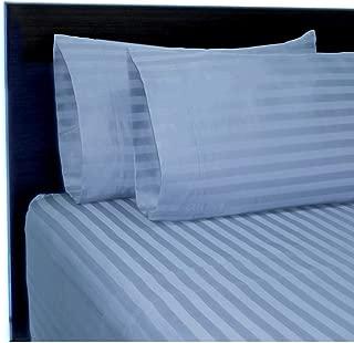 CANNON 4 Piece 100% Cotton 300 Thread Count Damask Flexi Fit Soft Sheet Set (Blue, Queen)