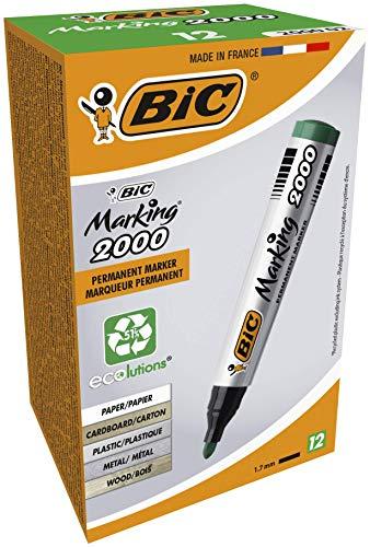 BIC Marking 2000 Ecolutions - Caja de 12 marcadores permanentes, 12, color verde