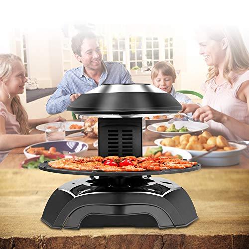 InLoveArts Elektrogrill, Tischgrill, Elektrische 3D-Infrarot-Grill, Nicht klebende rotierende Grillplatte, Haushalt Abnehmbare rauchfreie Grill-Kochplatte Touchscreen/Temperatur- und Zeitsteuerung