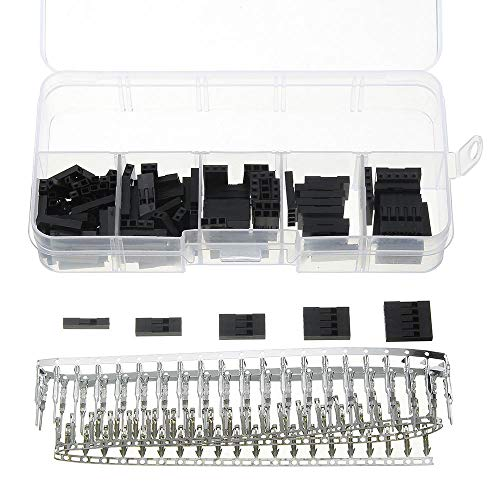 Condensadores 2.54mm Conector 1/2/3/4/5 Pin Macho Conector Macho y Hembra de crimpado Conectores terminales de Alambre de Puente 1250pcs Conectores de Cable