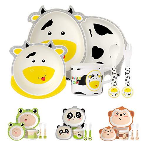 H HOMEWINS Kindergeschirr 5-teilig Nette Kuh-Form Umweltfreundlich Bambus Kinder Geschirr Set für Babys ab 6 Monaten - Spülmaschinenfest Teller Schüssel Trinkbecher Löffel und Gabel